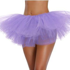 Purple Classic Elastic 5 Layered Tulle Tutu Skirt